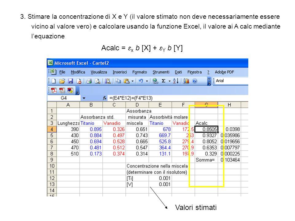 Acalc = x b [X] + Y b [Y] Valori stimati